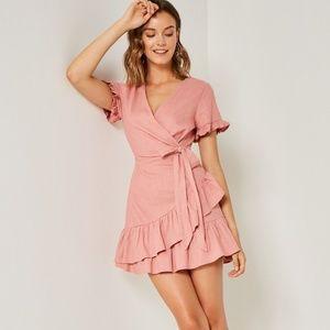 Hayden LA Linen Ruffle Mini Wrap Dress